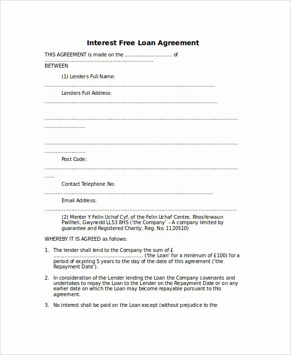 Loan Agreement Template Pdf New Loan Agreement Template 18 Free Word Pdf Document