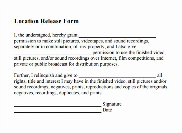 Location Release form Template Beautiful Sample Location Release form 19 Download Free Documents