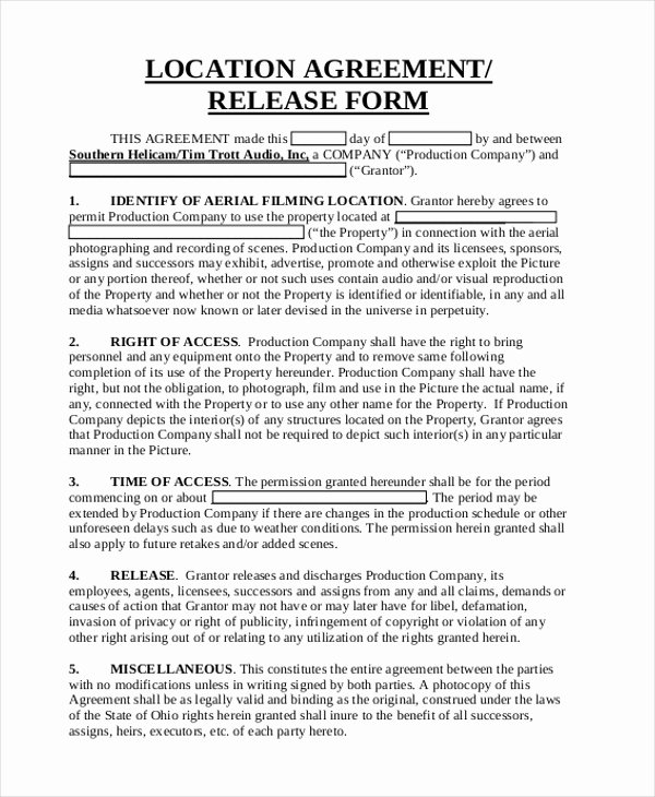 Location Release form Template Elegant Sample Location Release form 10 Free Documents In Pdf