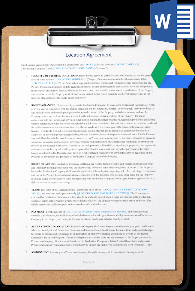 Location Release form Template Fresh Location Release Agreement Template Free Download