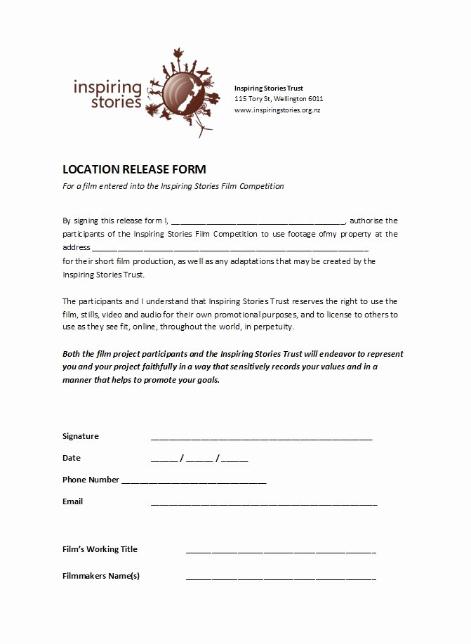 Location Release form Template Unique 50 Free Location Release forms [for Documentary