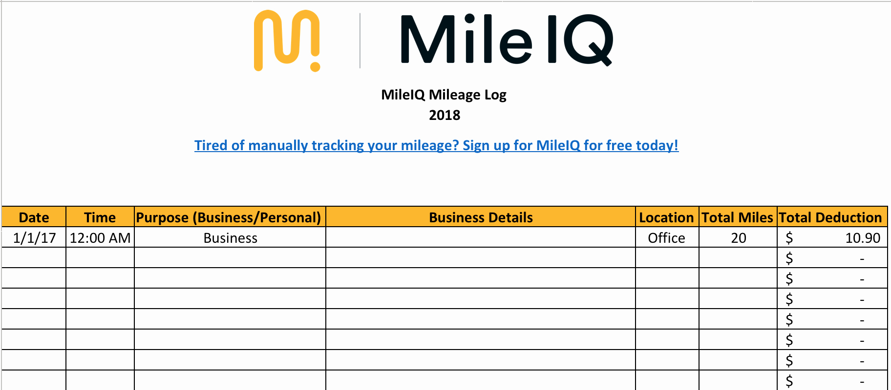 Log Sheet Template Excel Inspirational Free Mileage Log Template for Taxes Track Business Miles