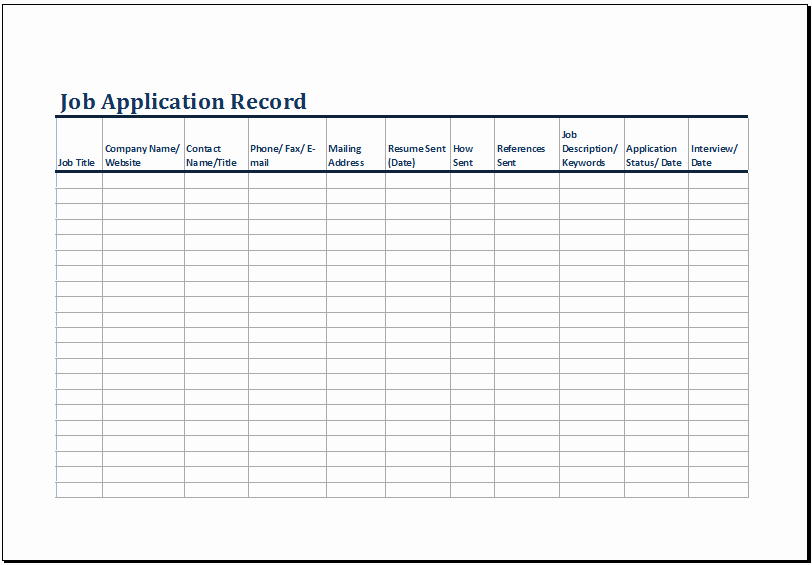 Log Sheet Template Excel Luxury Printable Job Application Log Template Ms Excel