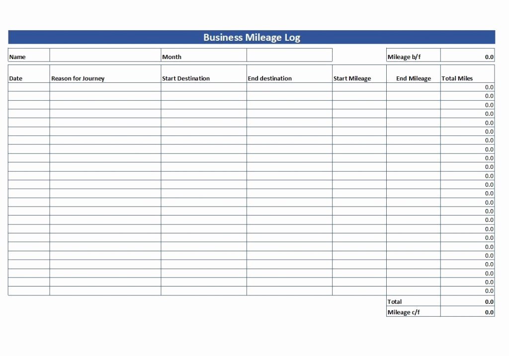Log Sheet Template Excel Luxury Simple Mileage Log Free Mileage Log Template Download