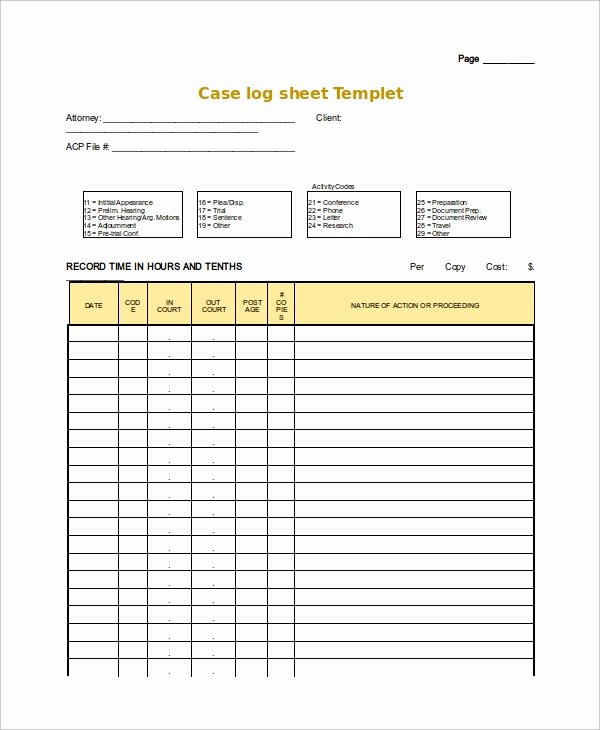 Log Sheet Template Excel New Log Sheet Template 23 Free Word Excel Pdf Documents