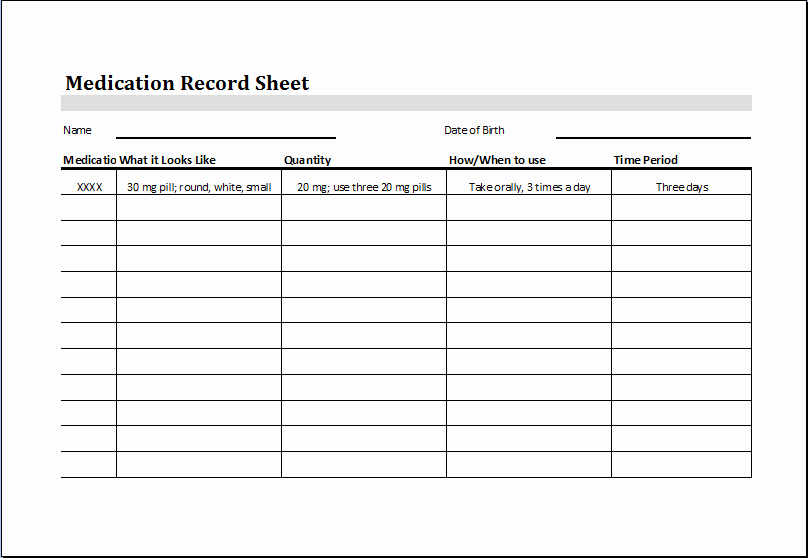 Log Sheet Template Excel Unique Medication Record Sheet – Word & Excel Templates