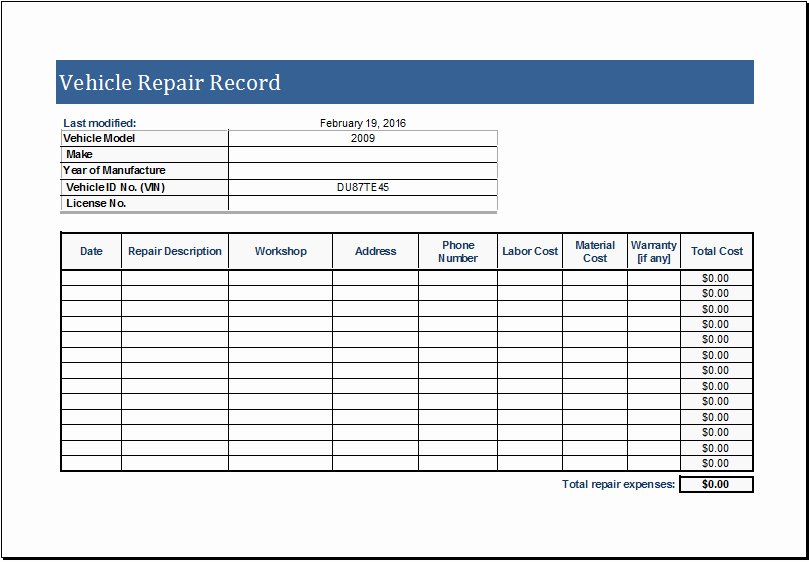 Log Sheet Template Excel Unique Vehicle Repair Log Template for Ms Excel