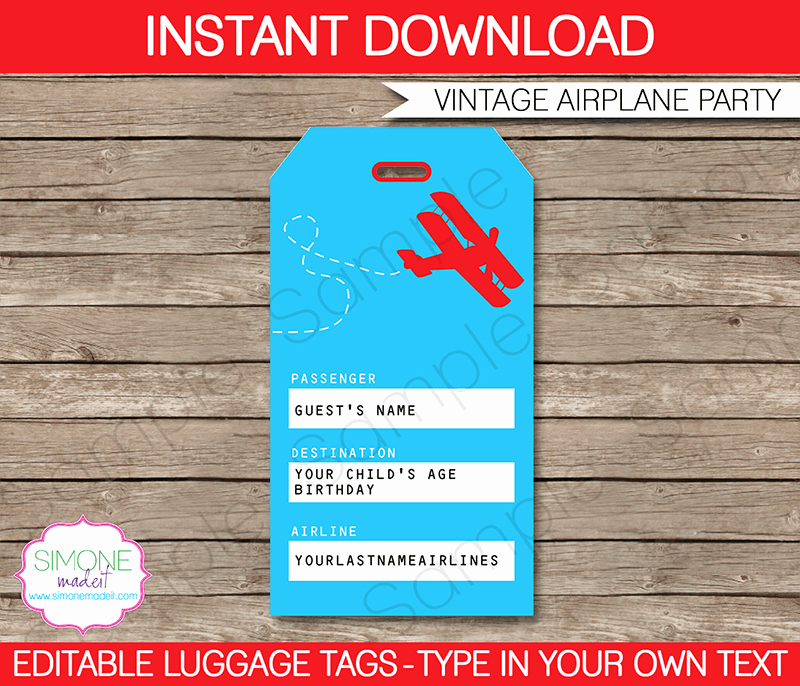 Luggage Name Tag Template Beautiful Airplane Birthday Party Luggage Favor Tags