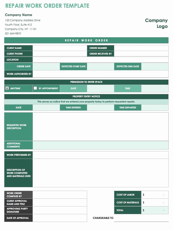 Maintenance Work order Template Excel Beautiful 15 Free Work order Templates