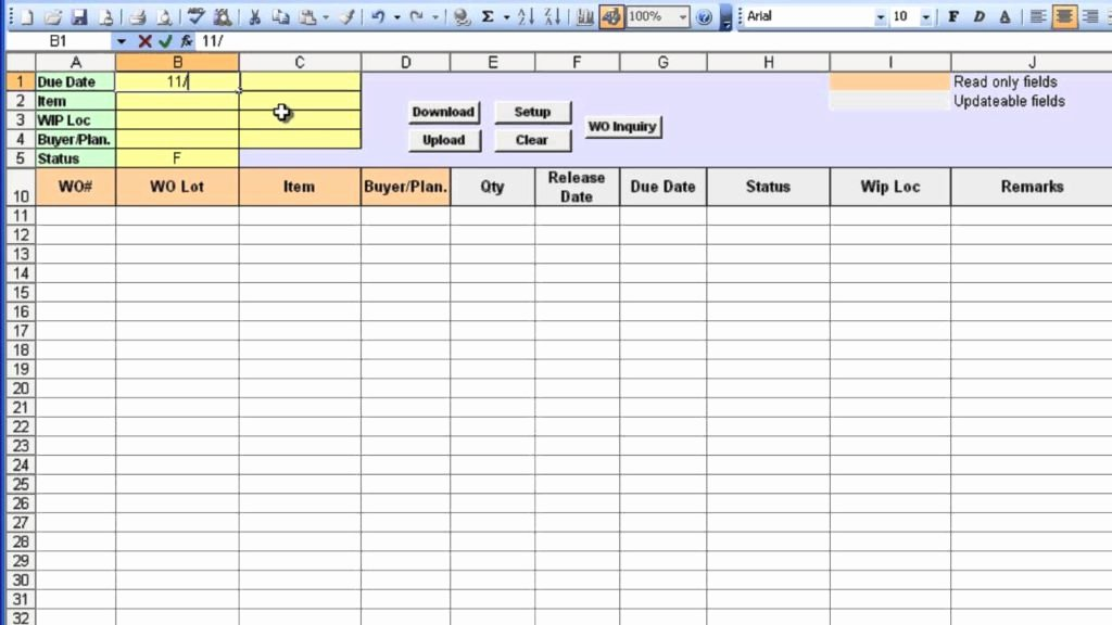 Maintenance Work order Template Excel Lovely Free Po Tracking Spreadsheet Templates Laobing Kaisuo