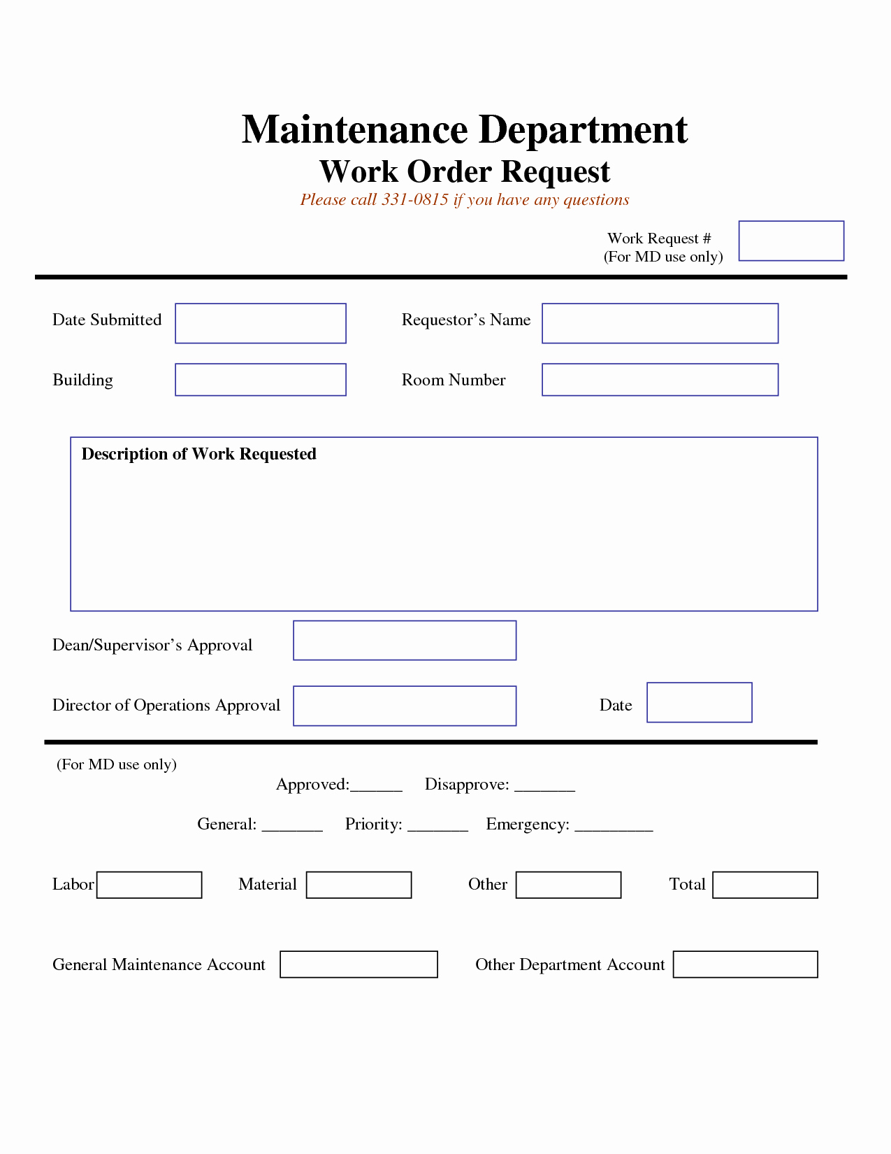 Maintenance Work order Template Excel Lovely Work Request form