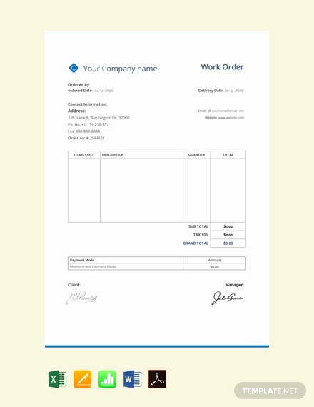 Maintenance Work order Template Excel New Free Maintenance Work order Template Download 75 order