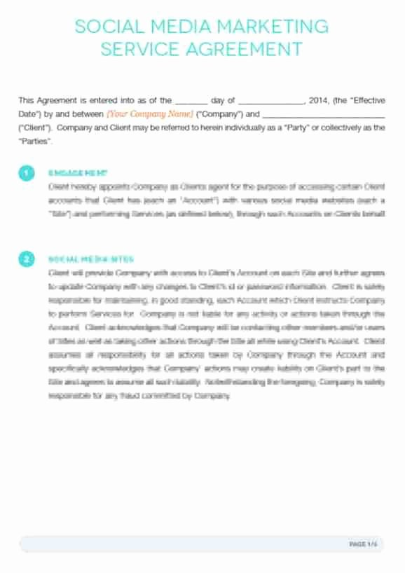 Marketing Agency Agreement Template Awesome social Media Contract Templates Word Excel Samples