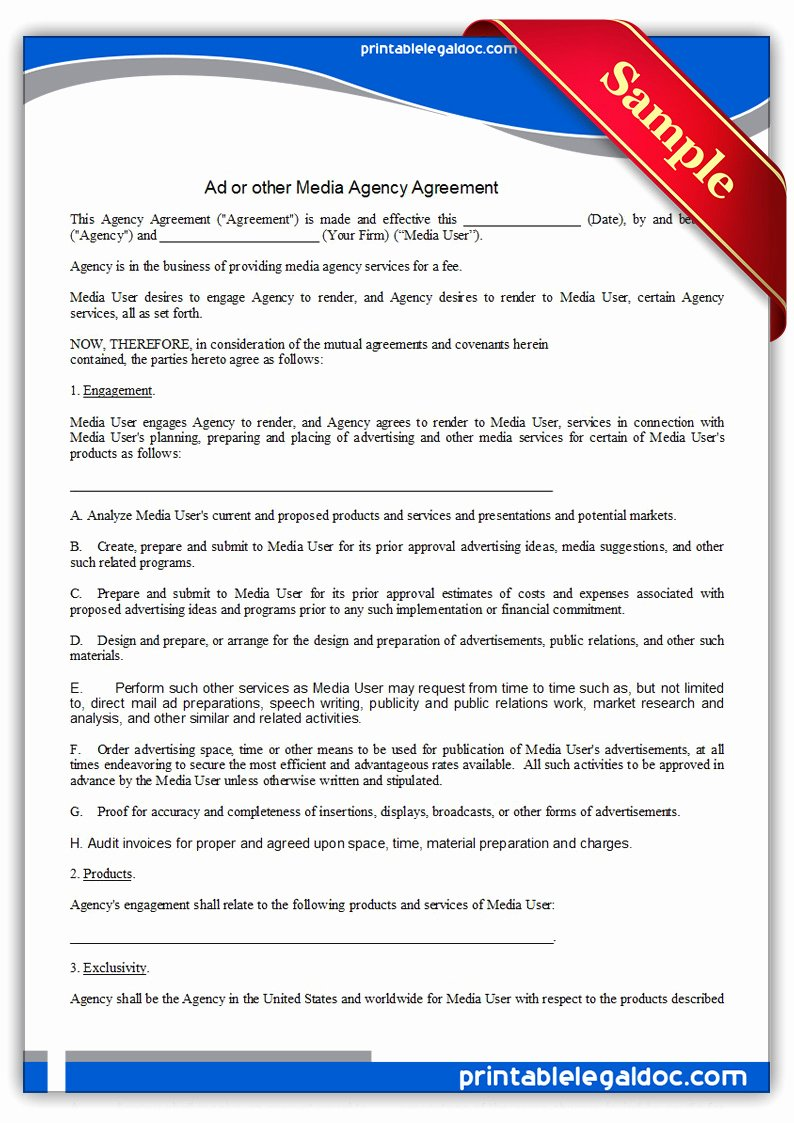 Marketing Agency Agreement Template Beautiful Free Printable Ad Media Agency Agreement form Generic