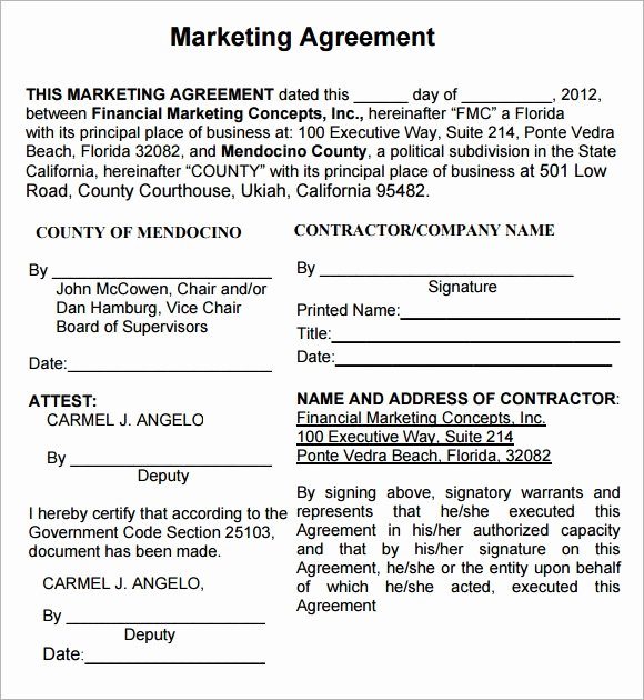 Marketing Agency Agreement Template Best Of Marketing Agreement Template 30 Download Free Documents