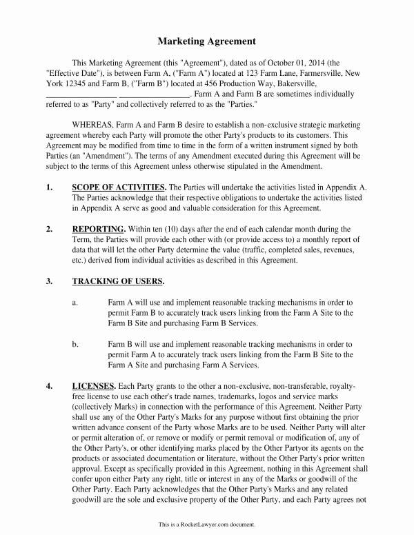 Marketing Agency Agreement Template Fresh 11 Marketing Services Agreement Template Pdf Word