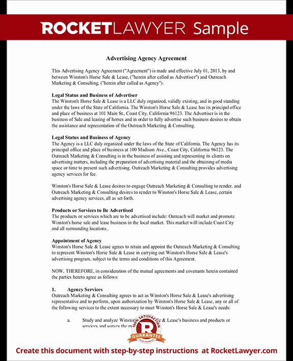 Marketing Agency Agreement Template Fresh Advertising Agency Agreement Contract Sample Template