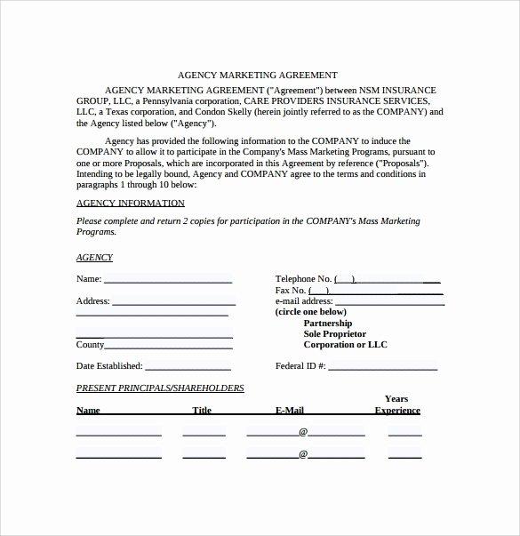 Marketing Agency Agreement Template Fresh Marketing Agreement Template 30 Download Free Documents