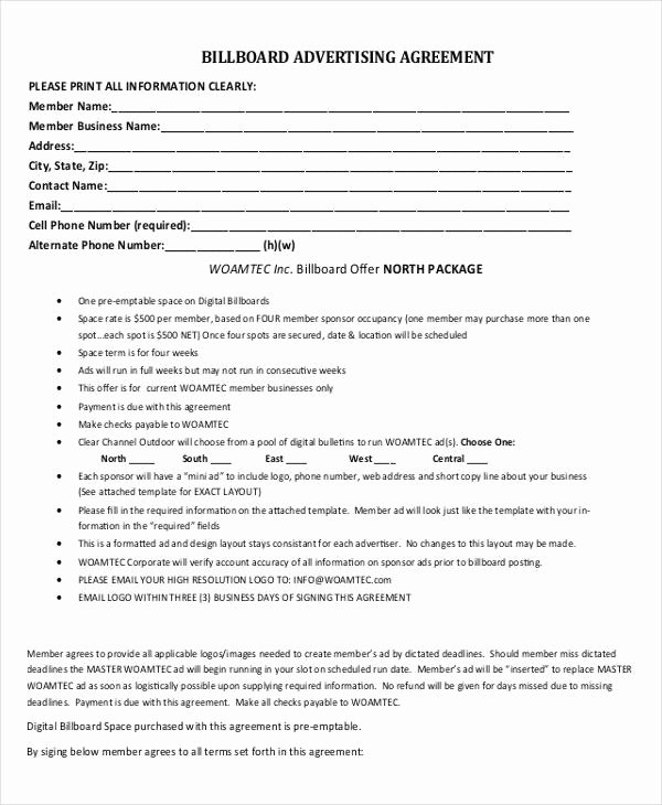 Marketing Agency Agreement Template Inspirational Advertising Contract Template 11 Word Pdf Google Docs