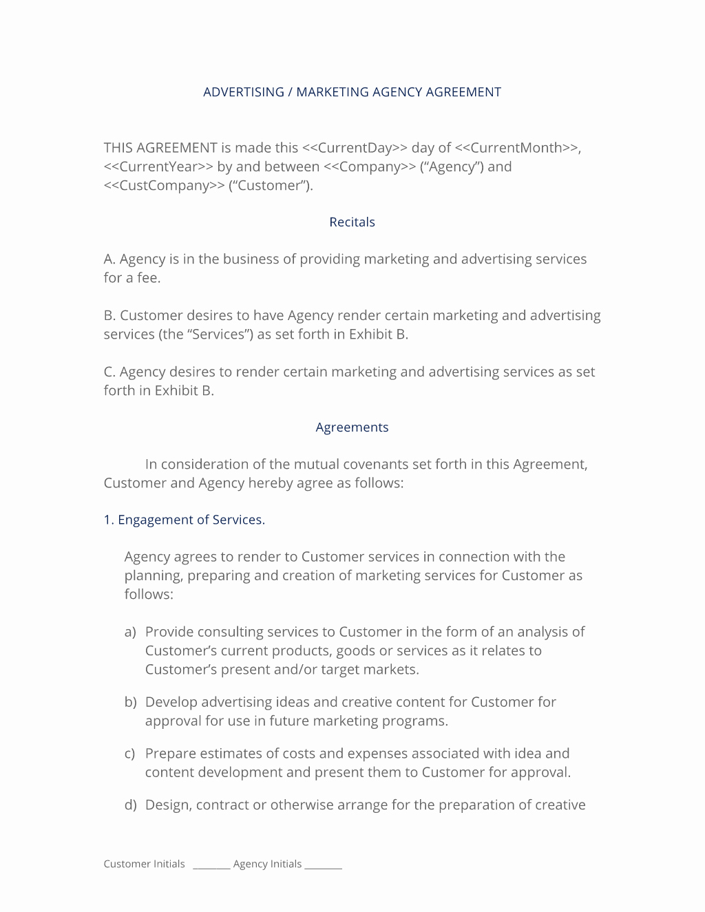 Marketing Agency Agreement Template Lovely Advertising and Marketing Agency Contract 3 Easy Steps