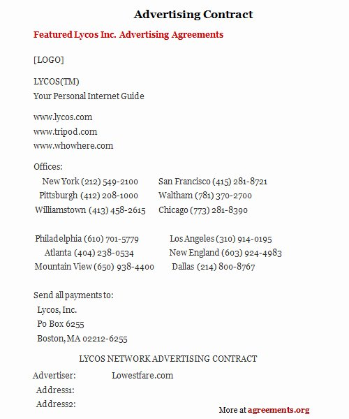 Marketing Agency Agreement Template New Advertising Contract Sample Advertising Contract Template