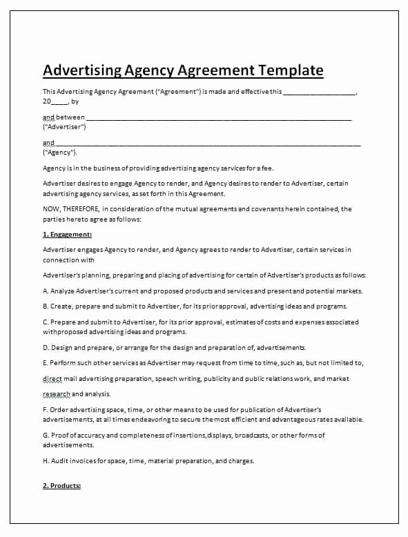 Marketing Agency Agreement Template New Free Contract Templates Word Pdf Agreements