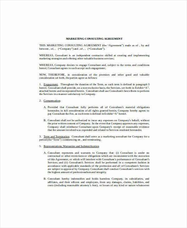 Marketing Consultant Contract Template Awesome 12 Marketing Consulting Agreement Templates Pdf Word
