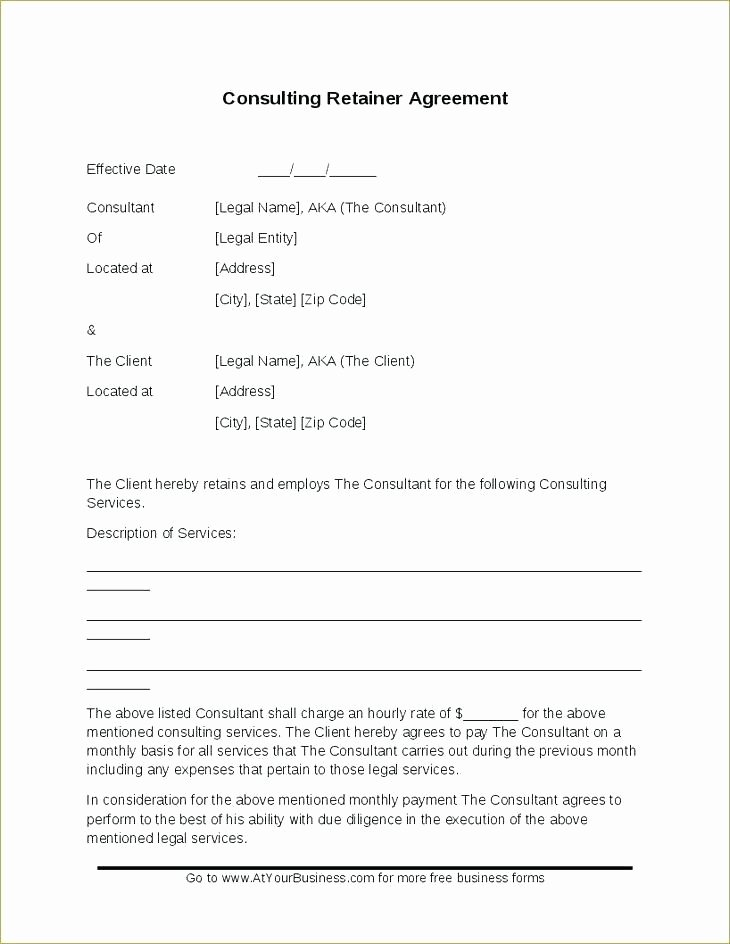 Marketing Consultant Contract Template Awesome Retainer Agreement Sample