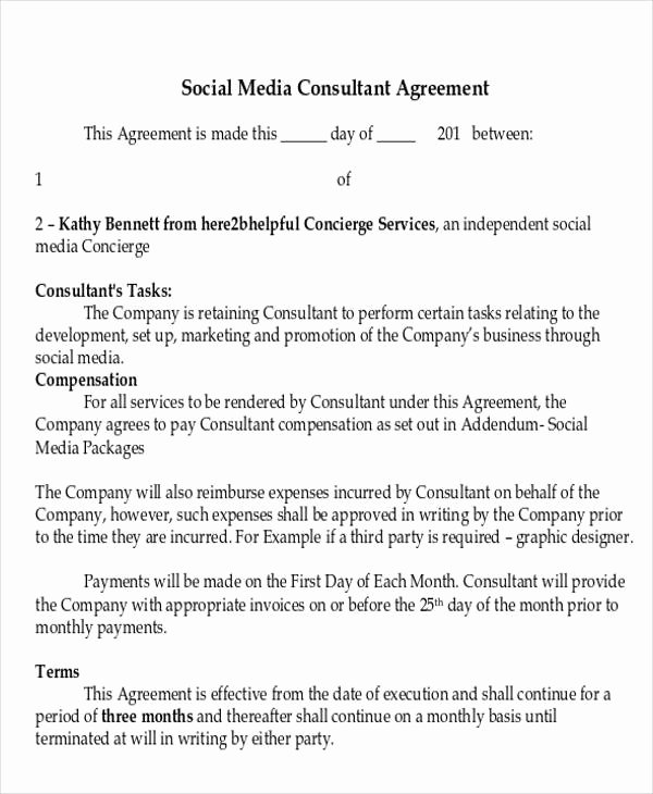 Marketing Consultant Contract Template Best Of 41 Consulting Agreement Examples Word Pdf