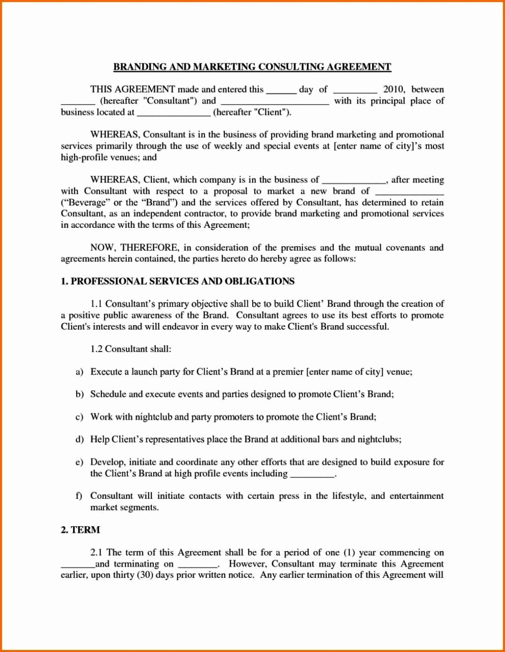 Marketing Consultant Contract Template Inspirational Marketing Consulting Agreement Template Sampletemplatess