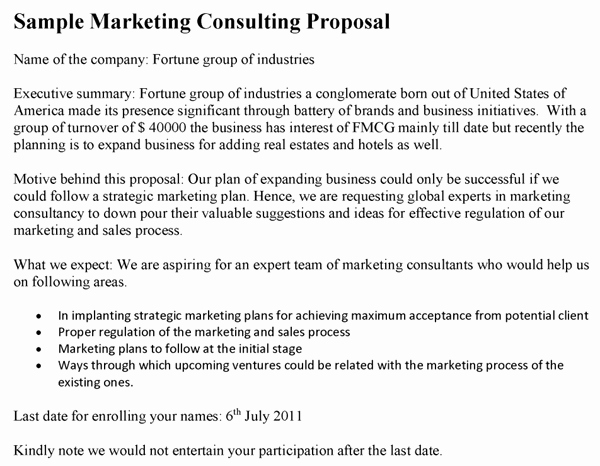 Marketing Consultant Contract Template Inspirational Marketing Consulting Proposal Template