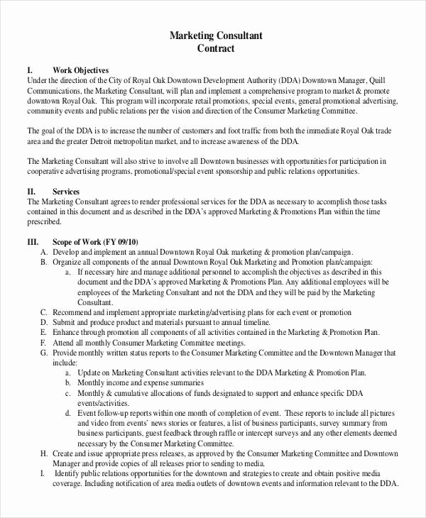 Marketing Consultant Contract Template New 43 Basic Contract Templates Google Docs Word Apple
