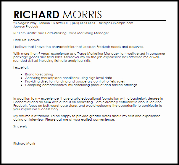 Marketing Cover Letter Template Beautiful Trade Marketing Manager Cover Letter Sample