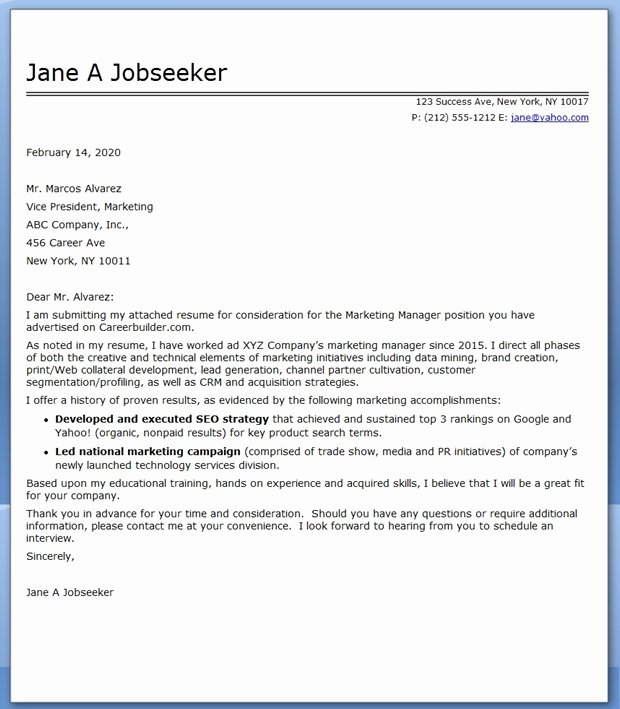 Marketing Cover Letter Template Fresh Marketing Munications Manager Cover Letter Sample