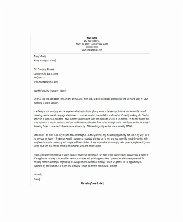 Marketing Cover Letter Template Inspirational 14 Marketing Letter Templates – Free Sample Example