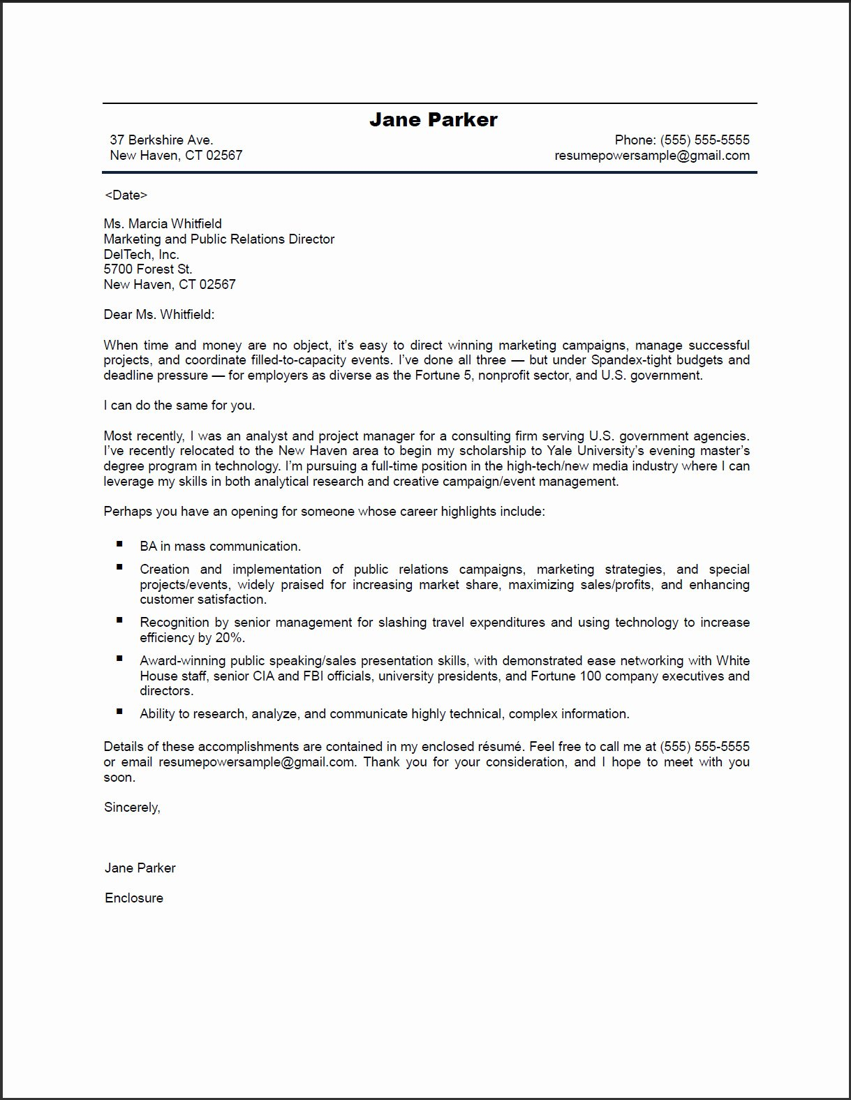 Marketing Cover Letter Template Inspirational Pr Marketing Cover Letter Resumepowerresumepower