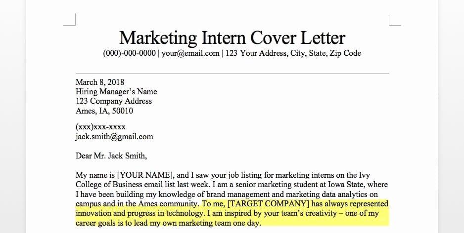Marketing Cover Letter Template Lovely Marketing Intern Cover Letter Sample & Guide