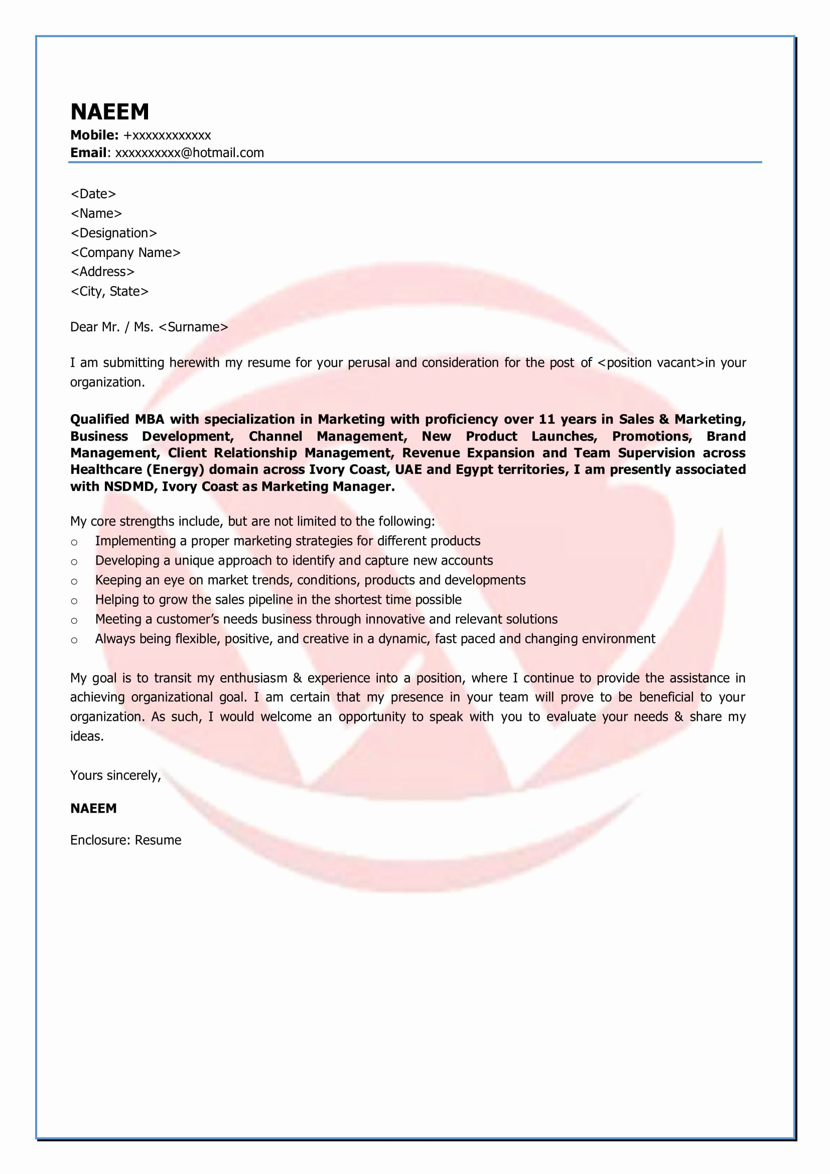 Marketing Cover Letter Template Unique Marketing Sample Cover Letter format Download Cover