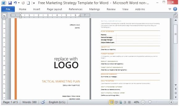 Marketing Plan Template Word Fresh Free Marketing Strategy Template for Word