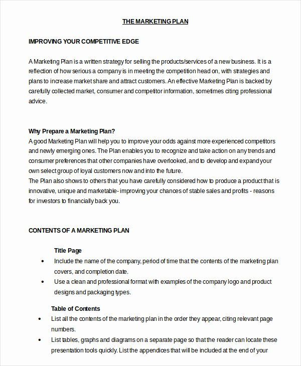 Marketing Plan Template Word Fresh Marketing Plan Template 30 Free Word Excel Pdf Ppt