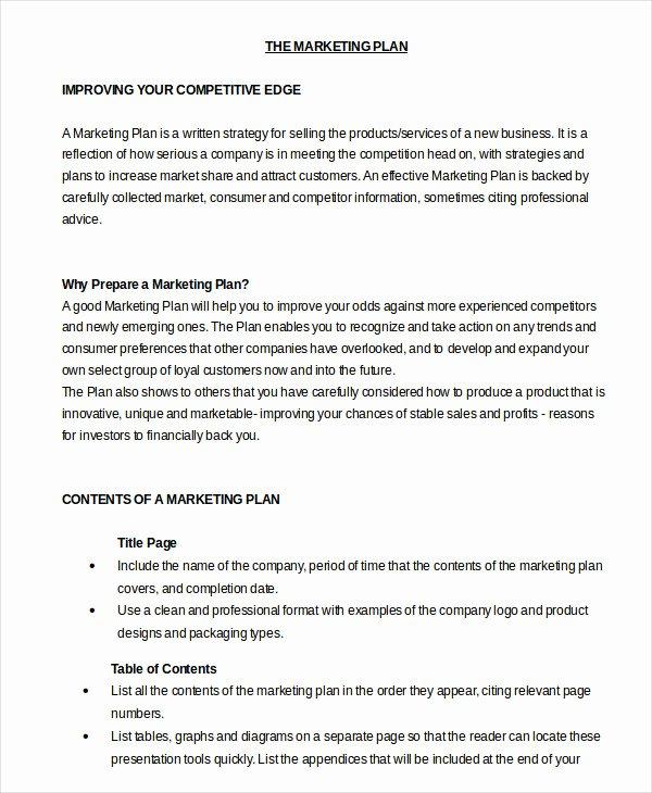 Marketing Plan Template Word Fresh Marketing Plan Template 30 Free Word Excel Pdf Ppt