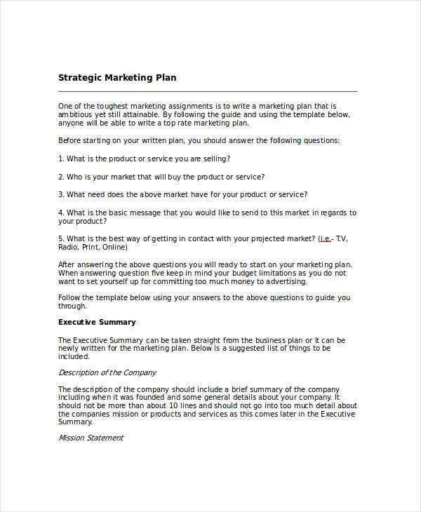 Marketing Plan Template Word Fresh Strategic Planning Template 13 Free Pdf Word Documents
