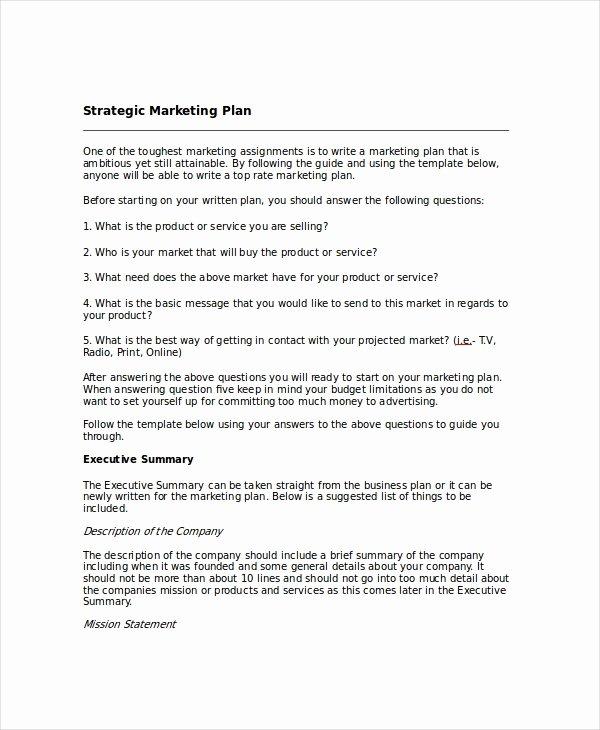 Marketing Plan Template Word Fresh Strategic Planning Template 13 Free Pdf Word Documents