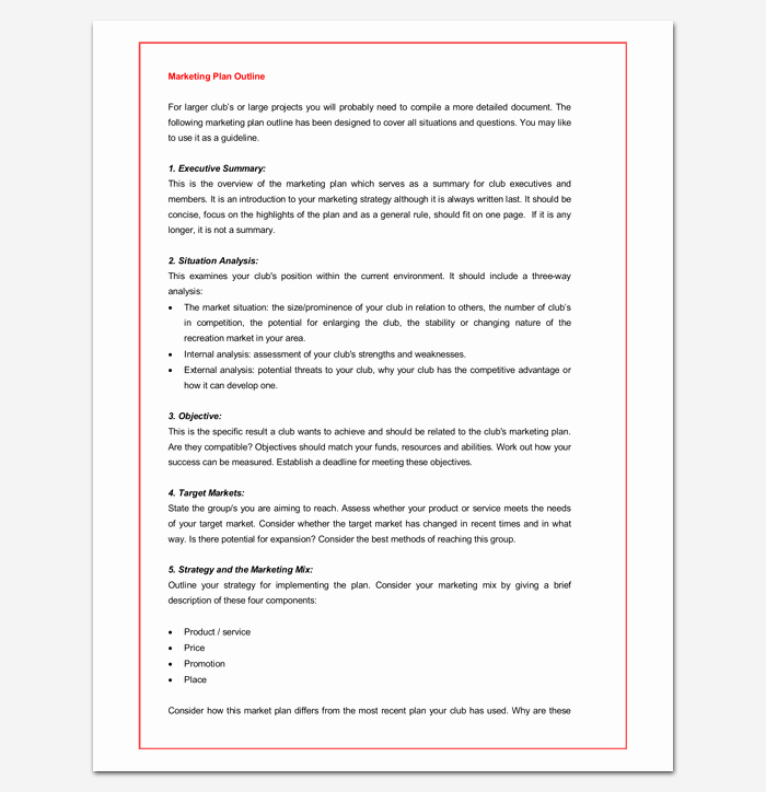 Marketing Plan Template Word New Marketing Plan Outline for Word