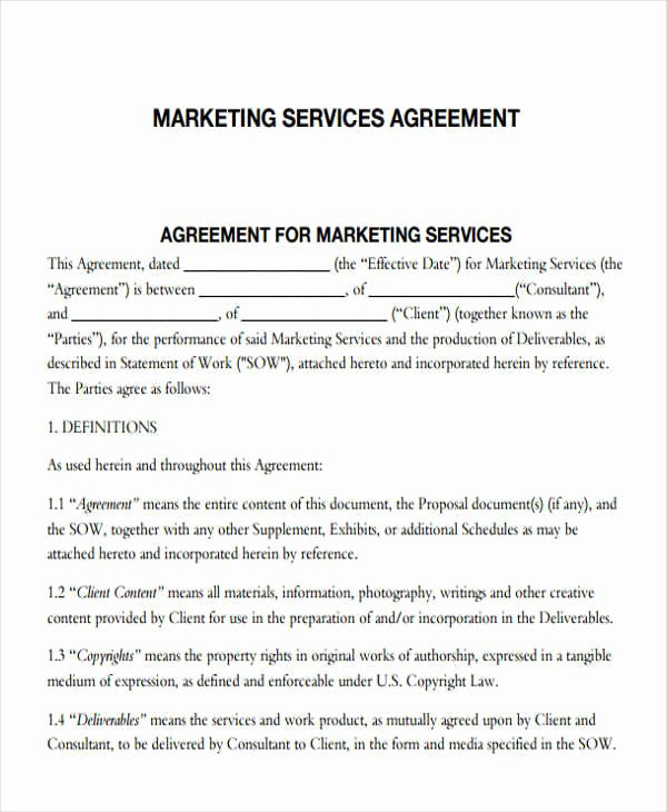 Marketing Service Agreement Template Awesome Create and A Marketing Agreement In Minutes Bonsai