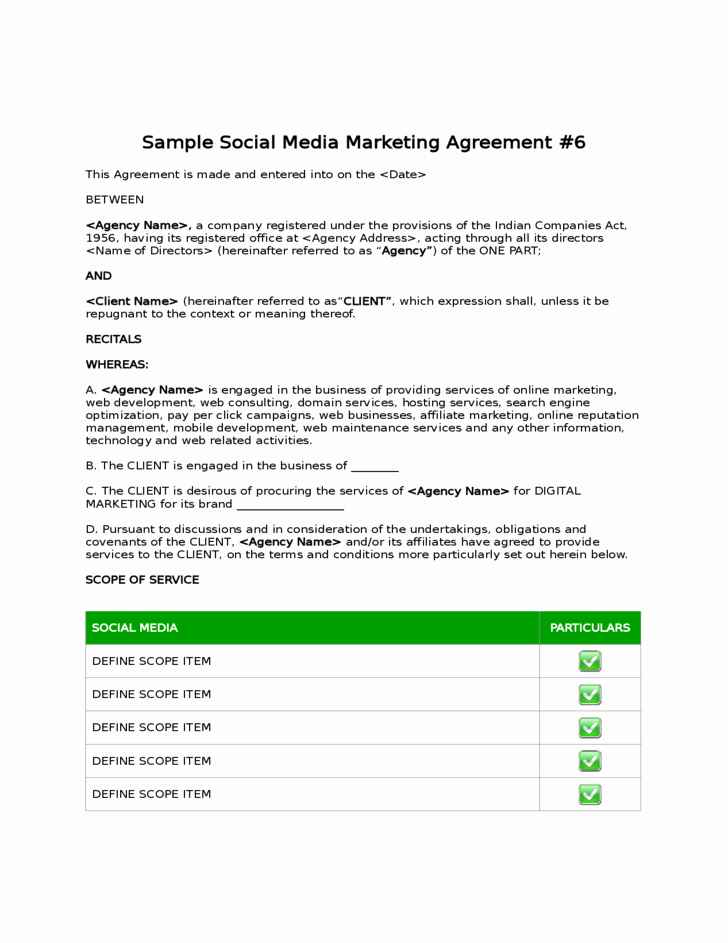 Marketing Service Agreement Template Awesome Sample social Media Marketing Agreement Free Download