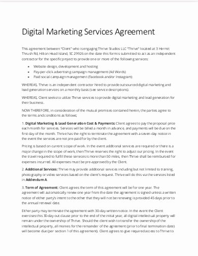 Marketing Service Agreement Template Best Of 15 Marketing Services Agreement Examples & Templates