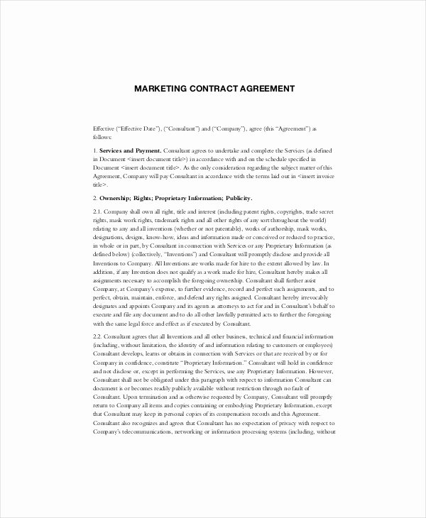 Marketing Service Agreement Template Best Of Marketing Contract Template – 14 Word Pdf Documents