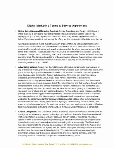 Marketing Service Agreement Template Luxury Free 15 Marketing Services Agreement Examples & Templates