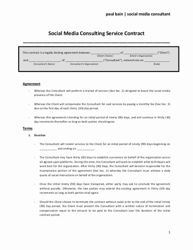 Marketing Service Agreement Template New social Media Contract Templates Word Excel Samples